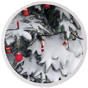 Christmas Decorations On Snowy Tree Round Beach Towel