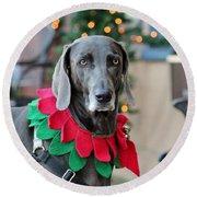 Christmas Dog Round Beach Towel