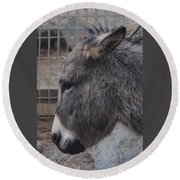 Christmas Donkey Round Beach Towel