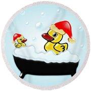 Christmas Ducks Round Beach Towel