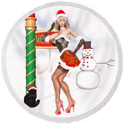 Christmas Elf Cleo Round Beach Towel by Renate Janssen