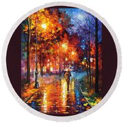 Christmas Emotions - Palette Knife Oil Painting On Canvas By Leonid Afremov Round Beach Towel