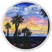 Christmas Eve In Redondo Beach Round Beach Towel