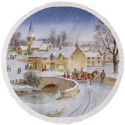 Christmas Eve In The Village  Round Beach Towel
