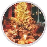 Christmas Eve Round Beach Towel by Mo T