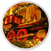Christmas Express Round Beach Towel