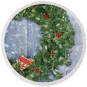 Christmas Garland Round Beach Towel by Amanda Elwell