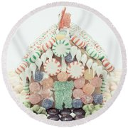 Christmas Gingerbread House Round Beach Towel