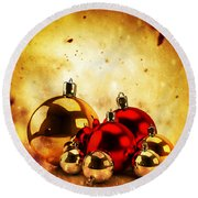 Christmas Glass Balls On Winter Gold Background Round Beach Towel