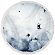 Christmas Glass Balls On Winter Vintage Background Round Beach Towel