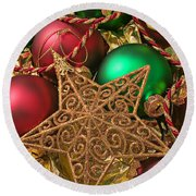 Christmas Gold Star Round Beach Towel