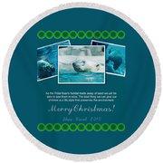 Christmas Greetings Round Beach Towel