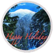 Christmas Holidays Scenic Snow Covered Mountains Looking Through The Trees  Round Beach Towel