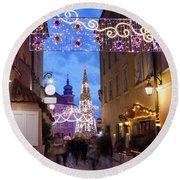 Christmas Illumination On Piwna Street In Warsaw Round Beach Towel