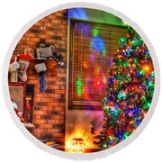 Christmas In Hdr Round Beach Towel