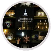 Christmas In Mauricetown  Round Beach Towel