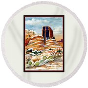 Christmas In Sedona Round Beach Towel