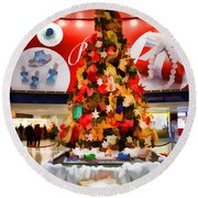 Christmas In The Train Station Round Beach Towel