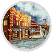 Christmas In Villa Rica 1950's Round Beach Towel