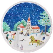 Christmas Joy Round Beach Towel