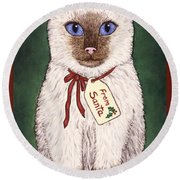Christmas Kitten Round Beach Towel