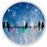 Christmas Lights Round Beach Towel by Bob Orsillo