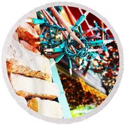 Christmas Lights In Window Round Beach Towel