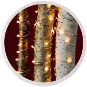 Christmas Lights On Birch Branches Round Beach Towel