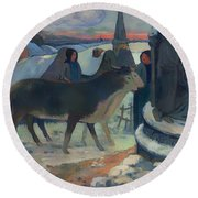 Christmas Night Blessing Of The Oxen Round Beach Towel