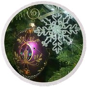 Christmas Ornaments 2 Round Beach Towel