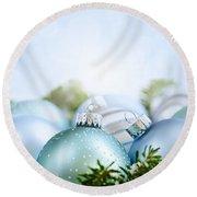 Christmas Ornaments On Blue Round Beach Towel