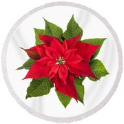 Christmas Poinsettia  Round Beach Towel