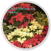 Christmas Poinsettias  Round Beach Towel