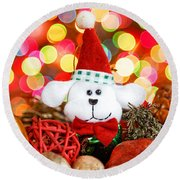 Christmas Puppy Round Beach Towel