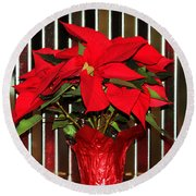 Christmas Red Poinsettia Round Beach Towel