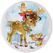 Christmas Reindeer And Rabbit Round Beach Towel