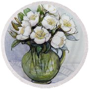 Christmas Roses Round Beach Towel by Gillian Lawson