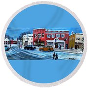 Christmas Shopping In Concord Center Round Beach Towel