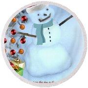 Christmas Snowman Round Beach Towel