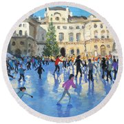 Christmas Somerset House Round Beach Towel by Andrew Macara