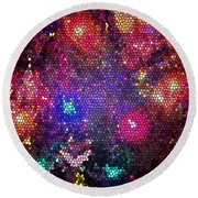 Christmas Stained Glass  Round Beach Towel