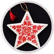 Christmas Star Round Beach Towel by Anne Gilbert