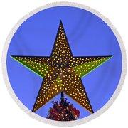 Christmas Star During Dusk Time Round Beach Towel