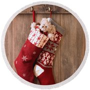 Christmas Stockings Round Beach Towel