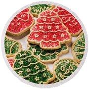 Christmas Sugar Cookies Round Beach Towel