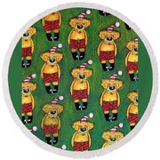 Christmas Teddies Round Beach Towel