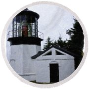 Christmas Time At Cape Meares Lighthouse Round Beach Towel