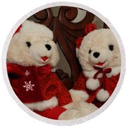 Christmas Time Bears Round Beach Towel