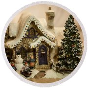 Christmas Toy Village Round Beach Towel
