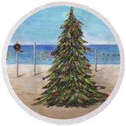 Christmas Tree At The Beach Round Beach Towel